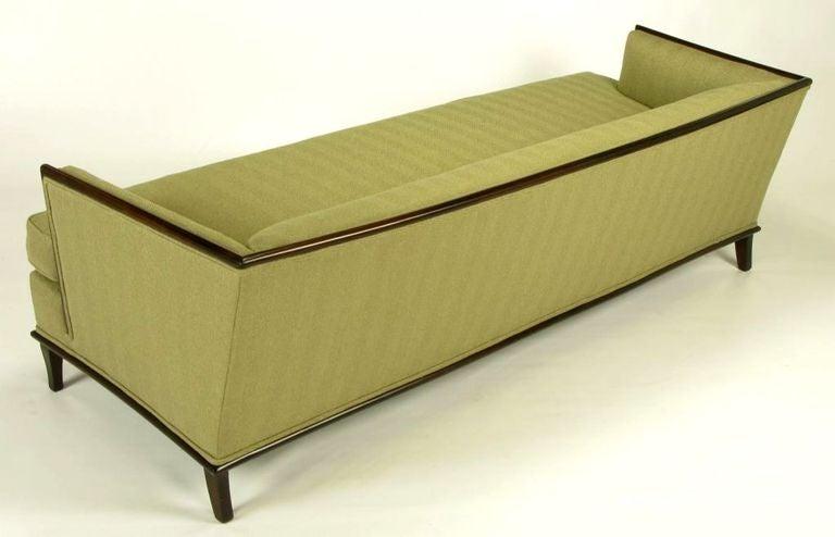 Sleek Mahogany Even Arm Sofa In Sage Herringbone At 1stdibs