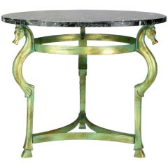Italian Verde Bronze End Table with Sea Horse Heads and Hooves