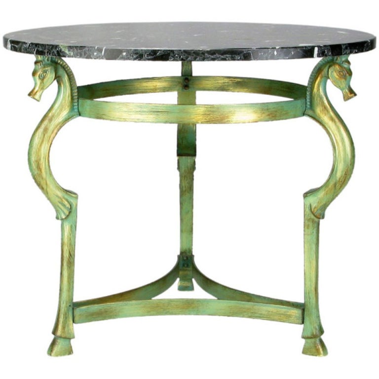 Italian Verde Bronze End Table with Sea Horse Heads and Hooves For Sale