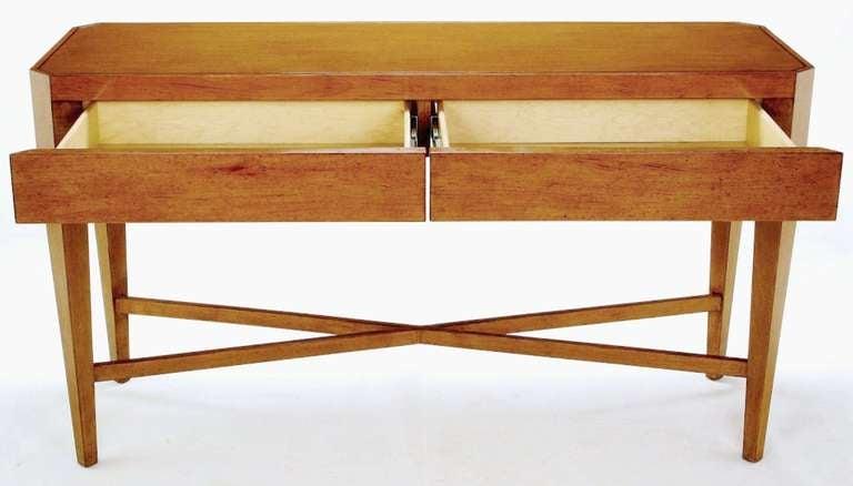 20th Century Nancy Corzine Glazed Maple X-Based Art Moderne Console Sideboard For Sale