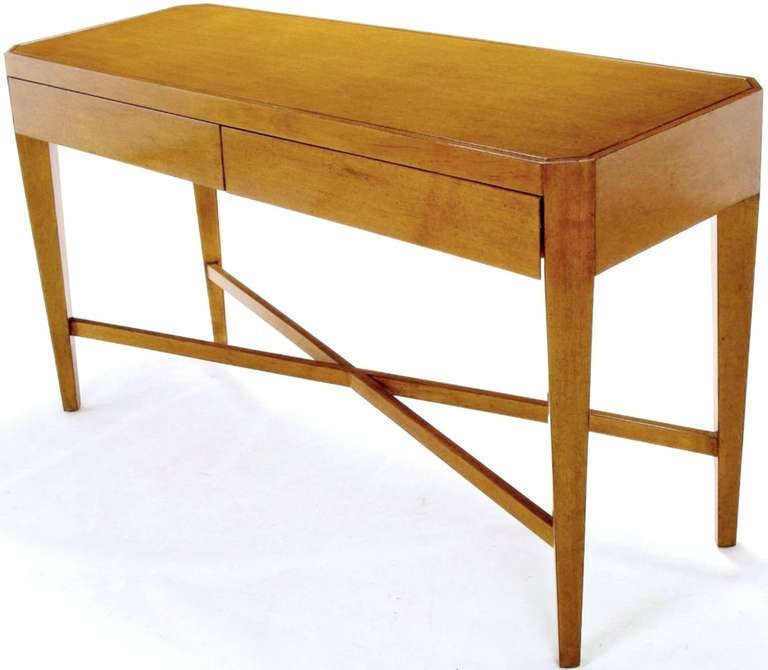 Nancy Corzine Glazed Maple X-Based Art Moderne Console Sideboard In Good Condition For Sale In Chicago, IL