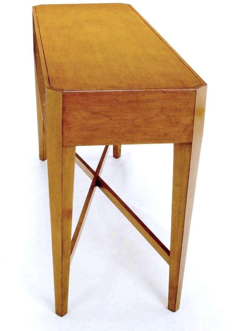 Nancy Corzine Glazed Maple X-Based Art Moderne Console Sideboard For Sale 2