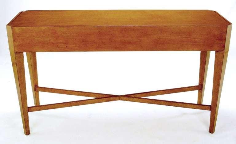 Nancy Corzine Glazed Maple X-Based Art Moderne Console Sideboard For Sale 1