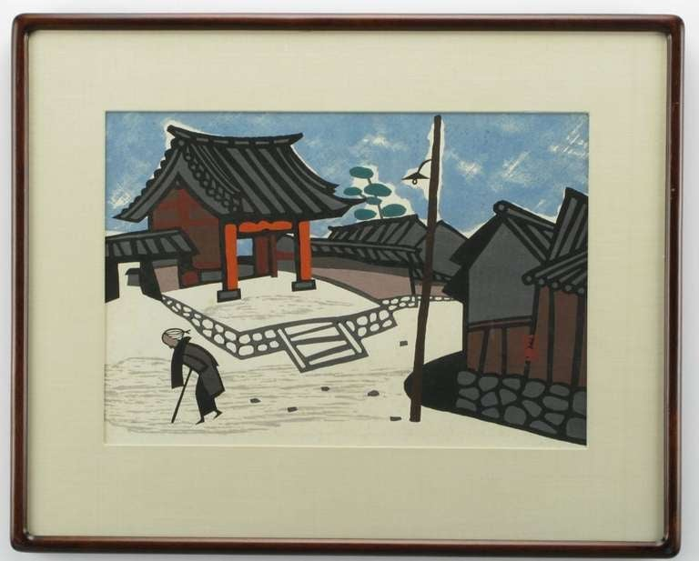 Mid-20th Century Set Three Kiyoshi Saito Wood Block Prints For Sale