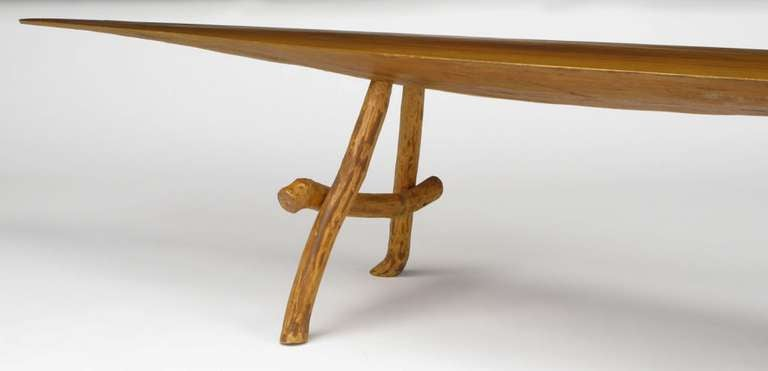 adirondack style natural wood surf board coffee table at 1stdibs. Black Bedroom Furniture Sets. Home Design Ideas