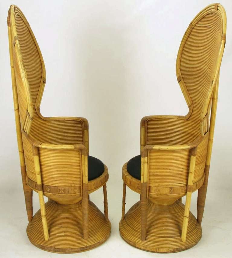 Pair of Egyptian Style Rattan Cobra Chairs 2