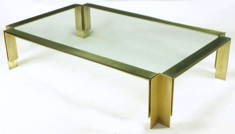 72 postmodern brushed brass and glass coffee table at 1stdibs for Coffee table 72 inch