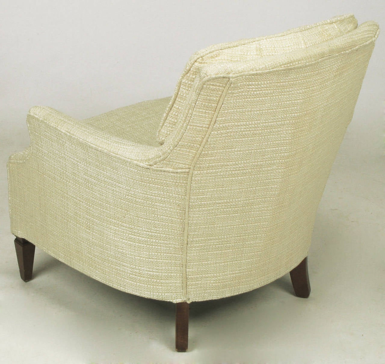 Button Tufted Creamy Linen Lounge Chair and Ottoman For Sale at 1stdibs