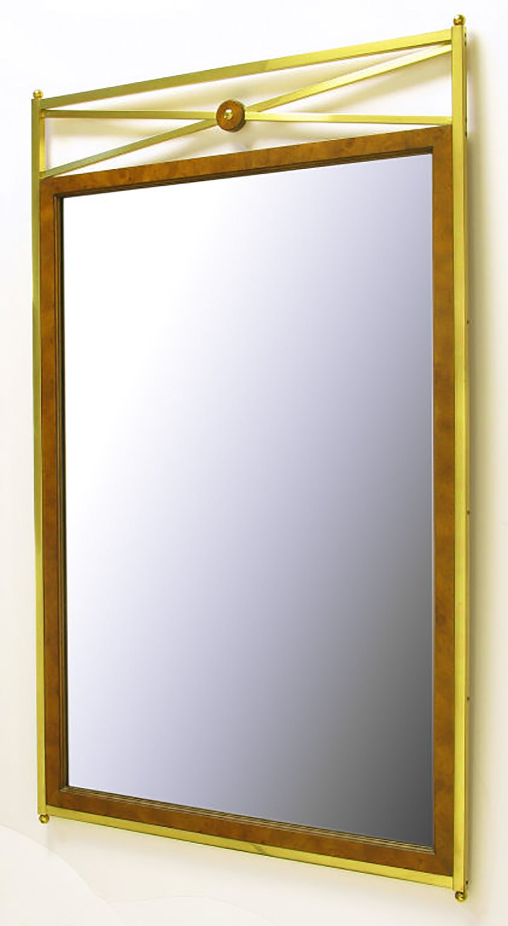 American Early Mastercraft Brass and Burl Empire Revival Mirror For Sale