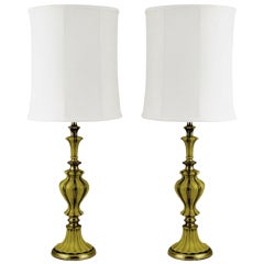 Pair Rembrandt Brass & Antiqued Saffron Yellow Table Lamps