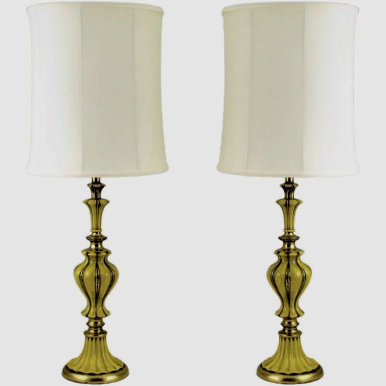 Pair of Rembrandt Brass and Antiqued Saffron Yellow Table Lamps For Sale 3