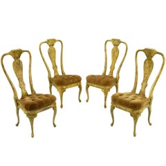 Four Phyllis Morris Oil-Drop Lacquered Queen Anne Chairs