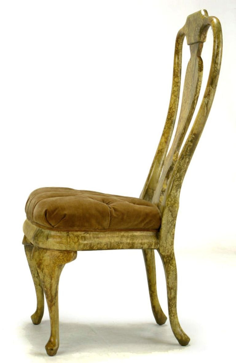 Four Phyllis Morris Oil Drop Lacquered Queen Anne Chairs For Sale At 1stdibs