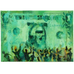 1999 Contemporary Russian Abstract Oil on Canvas Depicting Dollar Bill