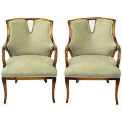 Pair 1940's Beech Wood & Sage Velvet Sculptural Regency Arm Chairs