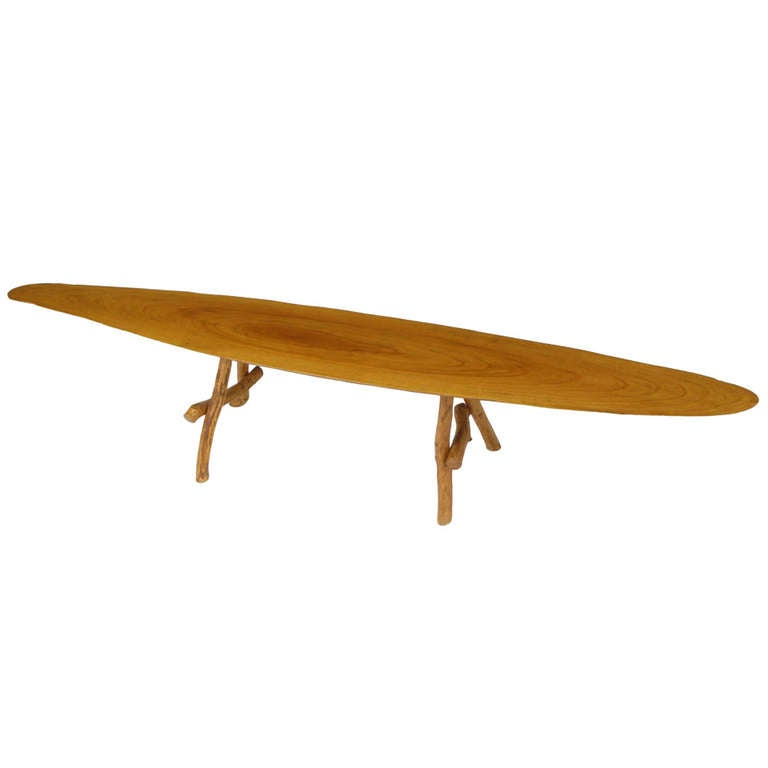 adirondack style natural wood surf board coffee table for sale at