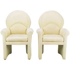 Pair Art Deco Revival Rolled Arm Club Chairs In Ivory Wool
