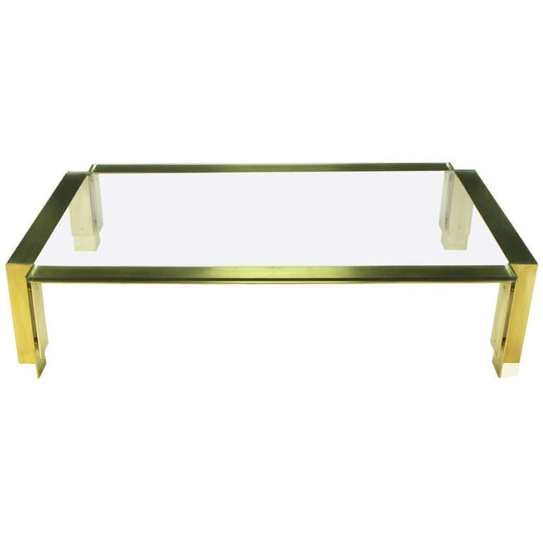 """72"""" Postmodern Brushed Brass And Glass Coffee Table At 1stdibs"""