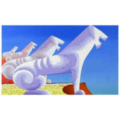 Large Painting of Sphinxes Against Blue Sky by Leon Bishop (1927-2006)