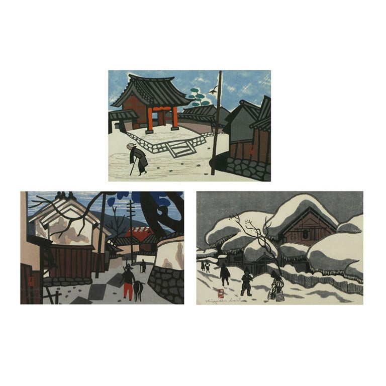 Set Three Kiyoshi Saito Wood Block Prints For Sale