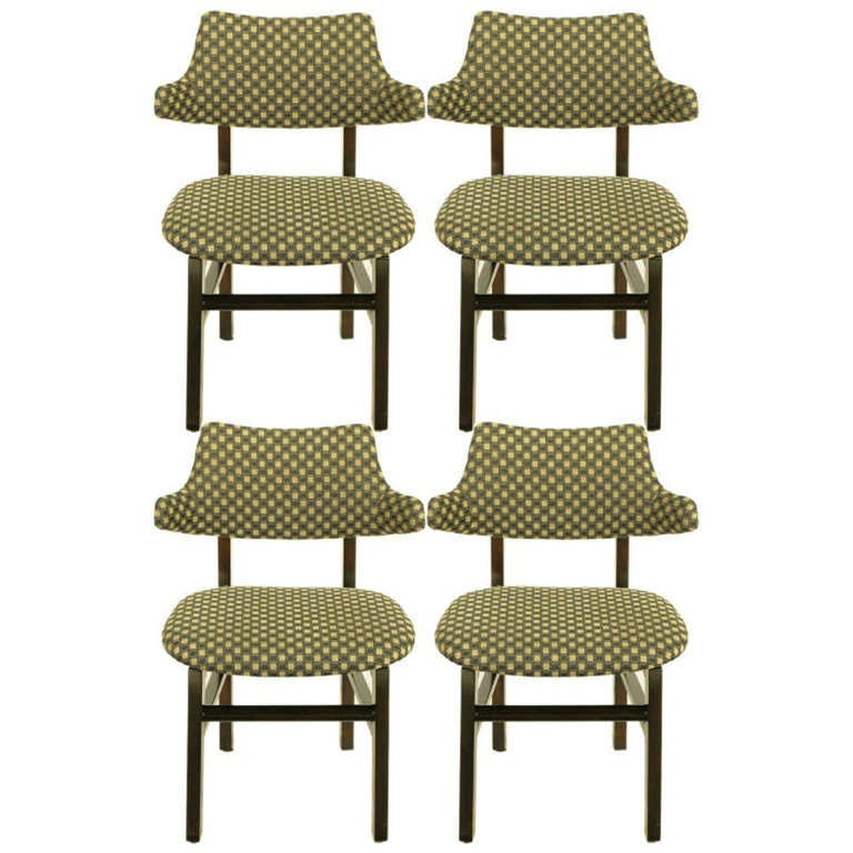 Four rare edward wormley mahogany and upholstered wing for Wingback dining room chairs for sale