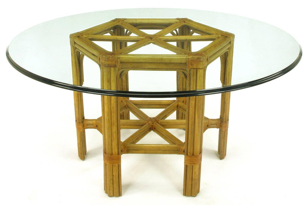 Lovely Bamboo And Rawhide Hexagonal Dining Table After John McGuire 2