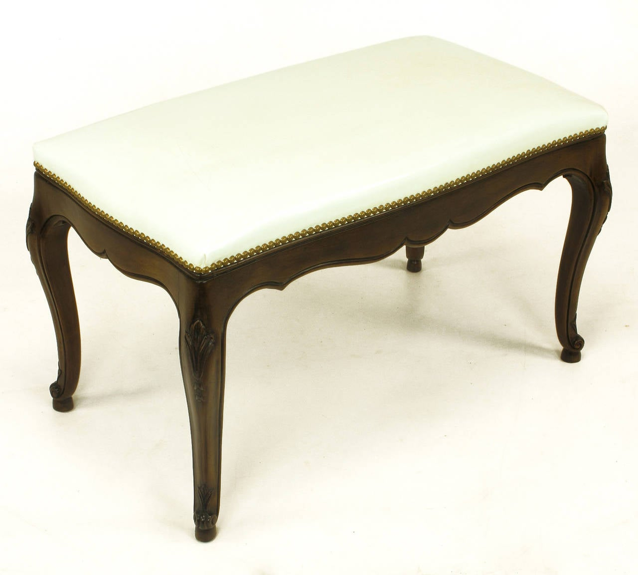 Late 20th Century Kindel French Regency Rich Walnut and White Leather Bench For Sale