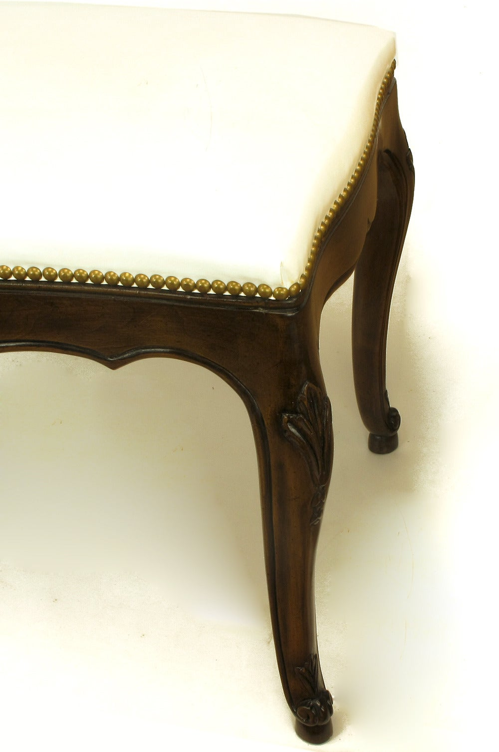 Brass Kindel French Regency Rich Walnut and White Leather Bench For Sale