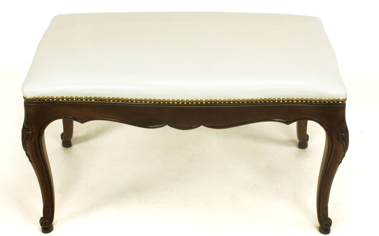 American Kindel French Regency Rich Walnut and White Leather Bench For Sale