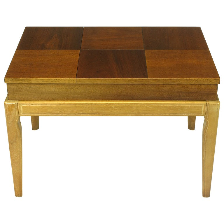 "John Van Koert ""Casa Del Sol"" Parquetry Walnut End Table with Opening Top For Sale"
