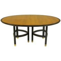 Baker Walnut and Ebonized Mahogany Dining Table