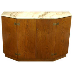 Bert England Appalachian Oak and Carrara Marble Console Cabinet