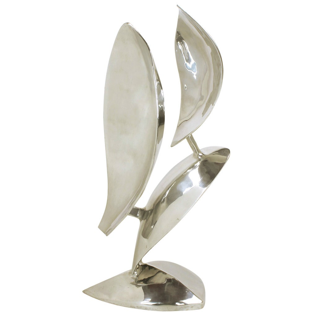 Abstract Organic Polished Aluminum Sculpture by Bill Keating