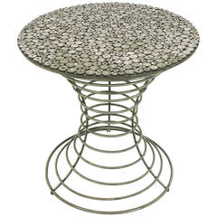 Custom Studio Centre Table with Steel Rounds Top and Open Hourglass Base