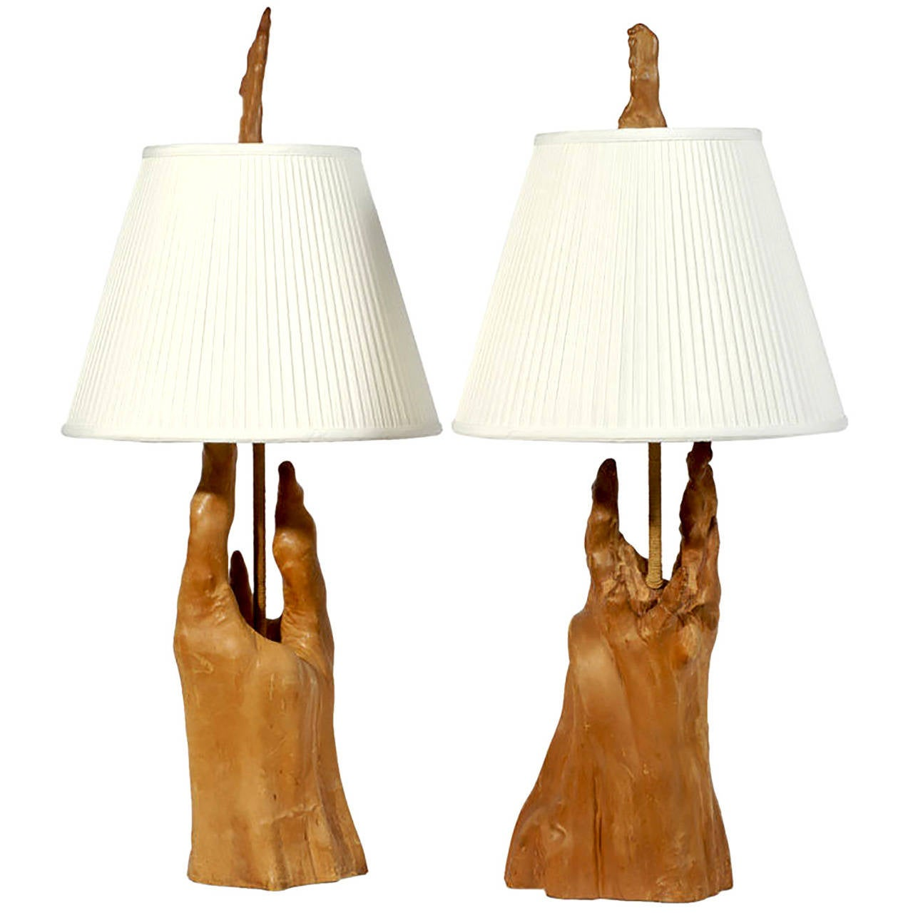 Pair of Sculptural Cypress Root Knees Table Lamps For Sale