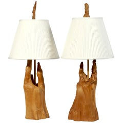 Pair of Sculptural Cypress Root Knees Table Lamps