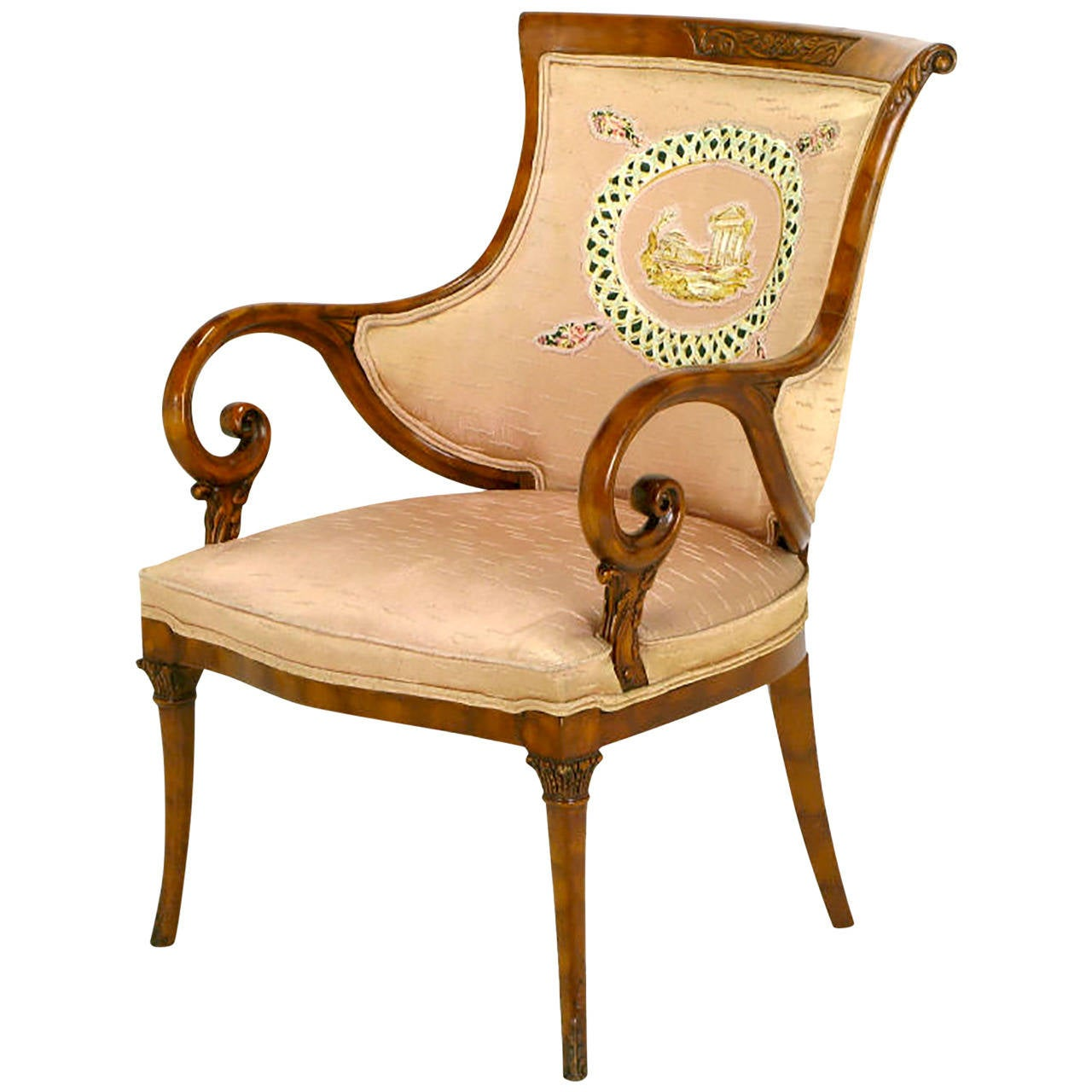 1940s Italian Regency Armchair with Quilted Silk Upholstery