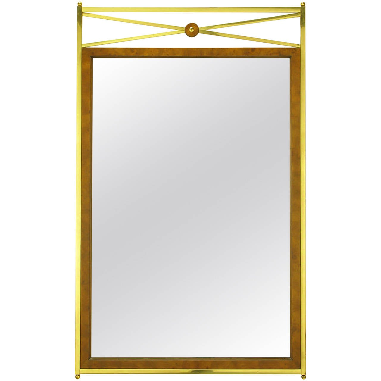 Early Mastercraft Brass and Burl Empire Revival Mirror 1