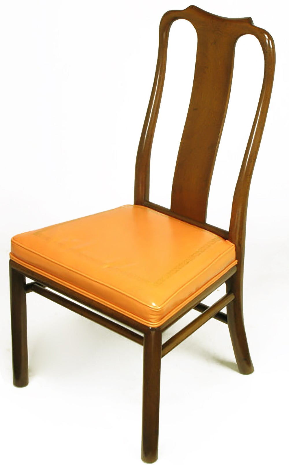 Six walnut and tooled leather splat back dining chairs for for Leather back dining chairs