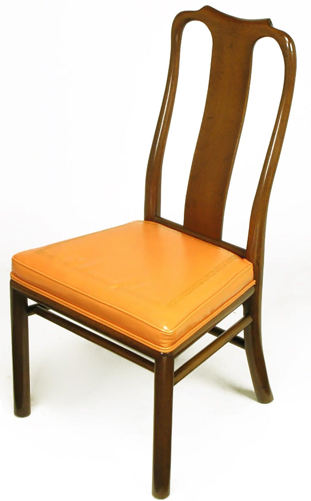 Six walnut and tooled leather splat back dining chairs for for Leather back dining chairs