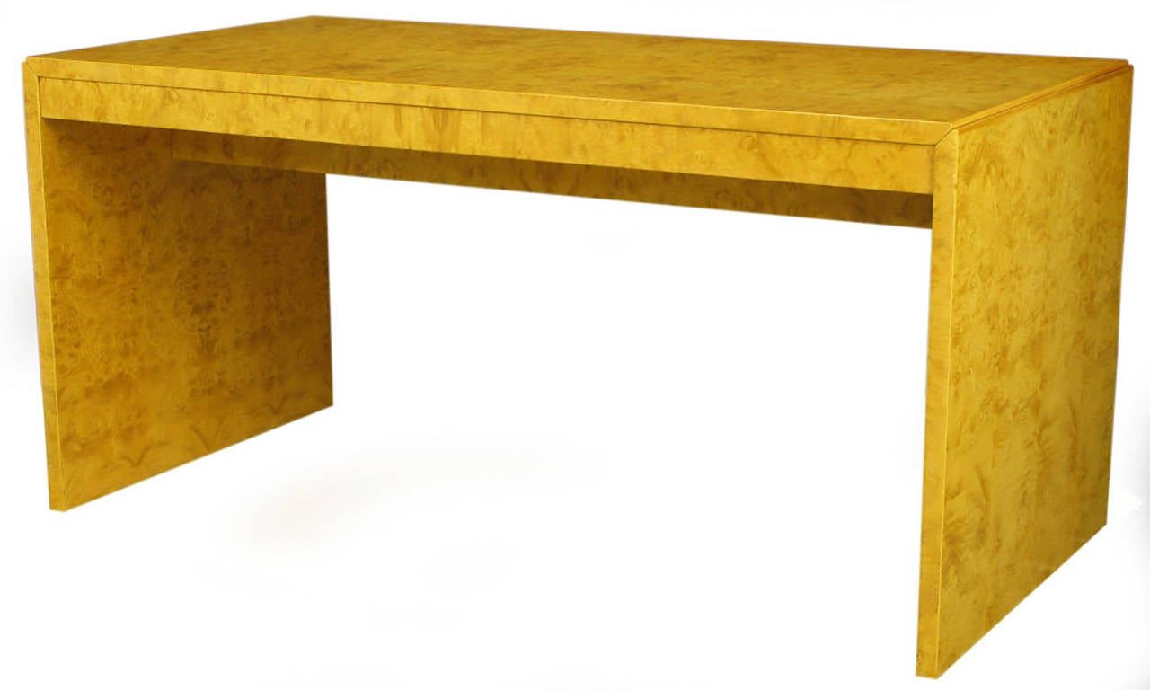 Olive Ash Burl Three Drawer Parsons Style Writing Table