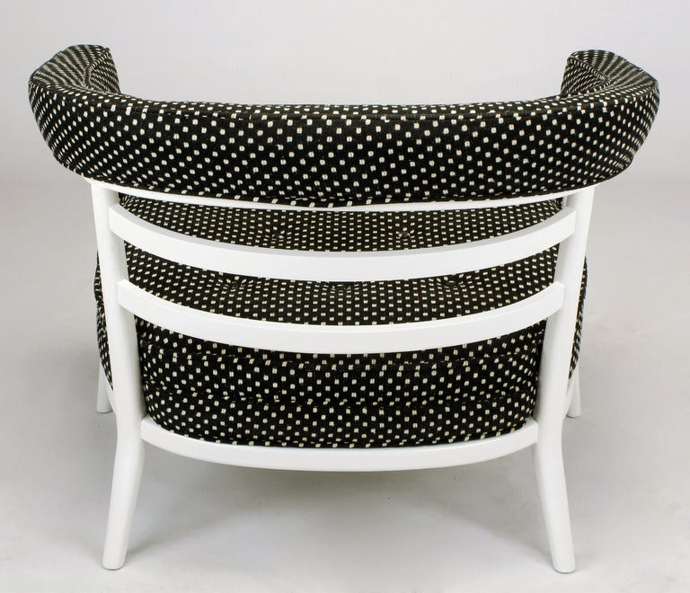 Cotton Four Bert England White Lacquer and Black Polka Dot Lounge Chairs For Sale