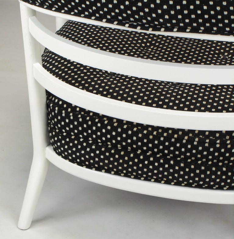 Four Bert England White Lacquer and Black Polka Dot Lounge Chairs For Sale 1