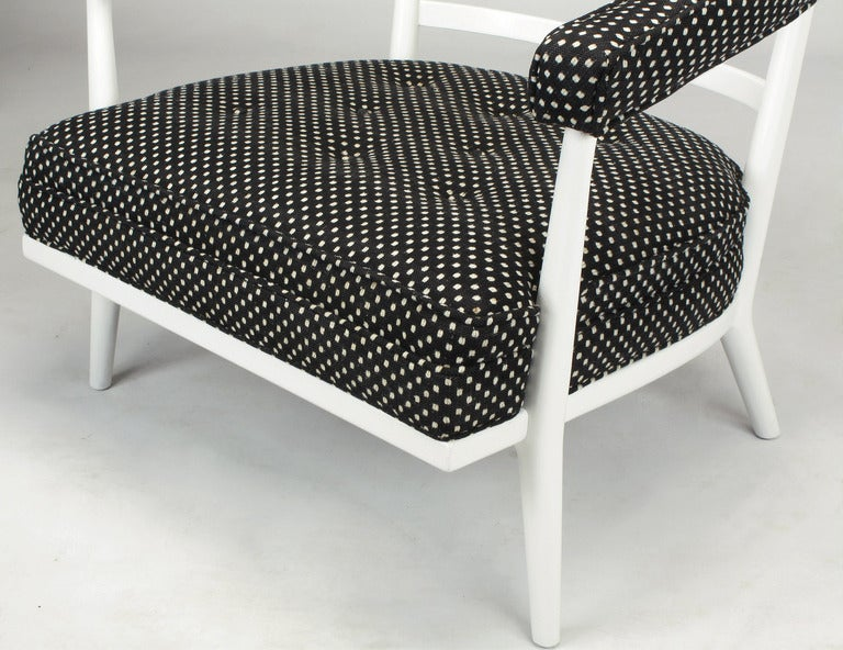 Four Bert England White Lacquer and Black Polka Dot Lounge Chairs For Sale 2