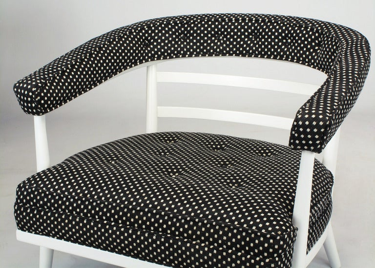 Four Bert England White Lacquer and Black Polka Dot Lounge Chairs For Sale 3