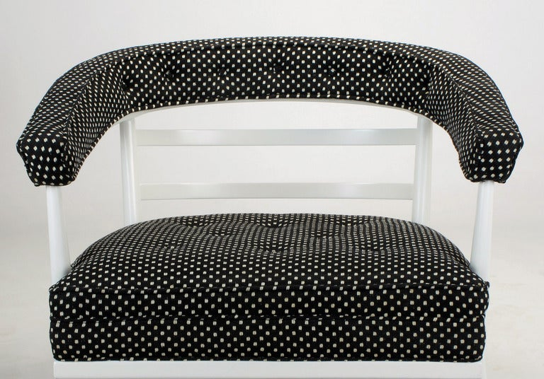 Four Bert England White Lacquer and Black Polka Dot Lounge Chairs For Sale 4