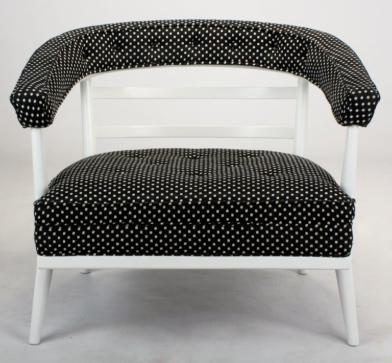 American Four Bert England White Lacquer and Black Polka Dot Lounge Chairs For Sale