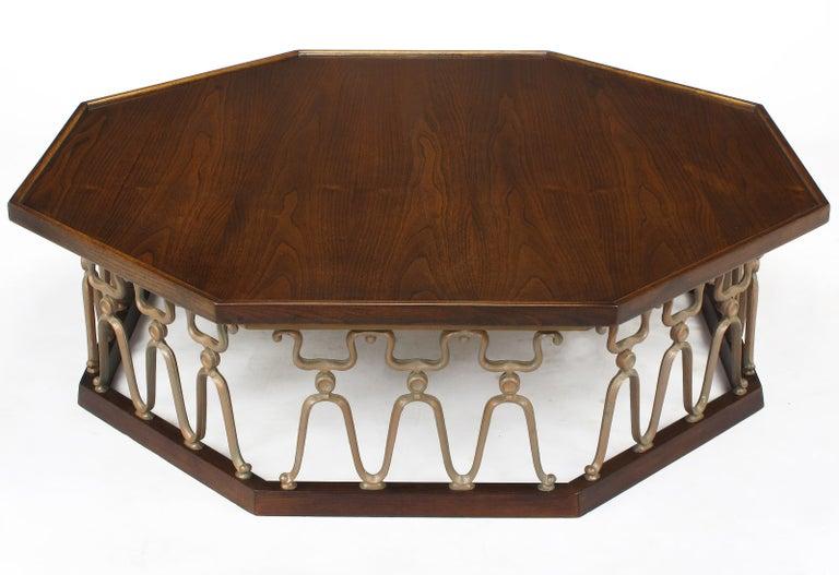 "John Van Koert ""Casa Del Sol"" Coffee Table of Walnut and Cast Metal Scrollwork For Sale"