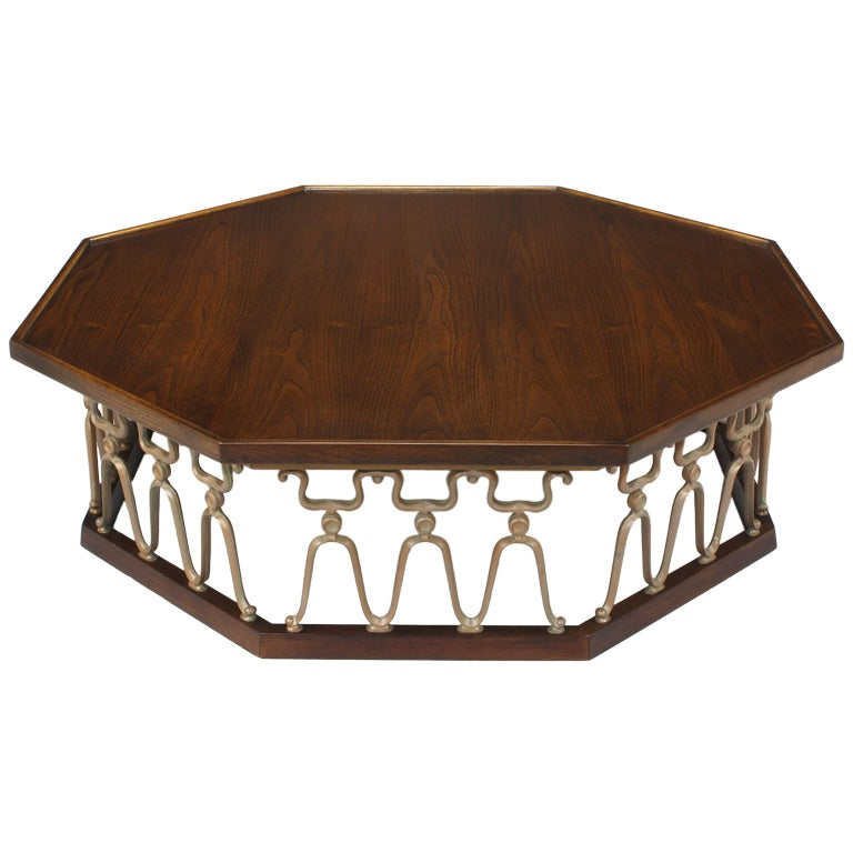 "John Van Koert ""Casa Del Sol"" Coffee Table of Walnut and Cast Metal Scrollwork For Sale"
