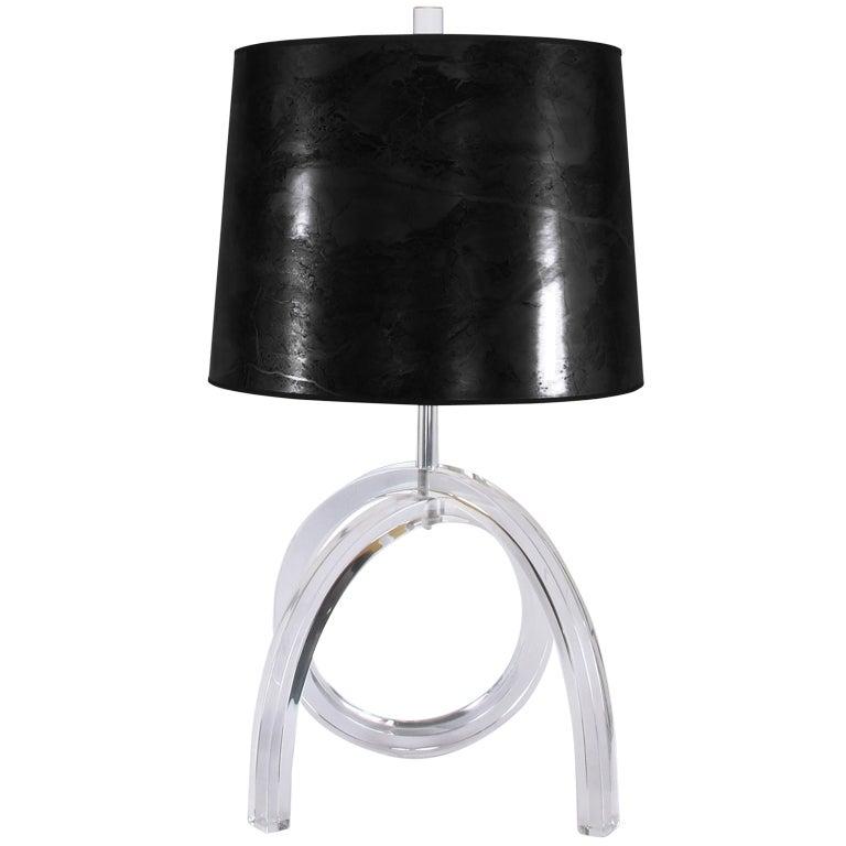 Harp Bar Lamp: Cross Loop Lucite And Chrome Table Lamp At 1stdibs